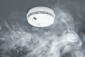 Active smoke detector on the ceiling