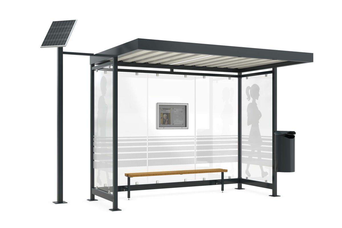 Visualization of a bus stop shelter with photovoltaic panel
