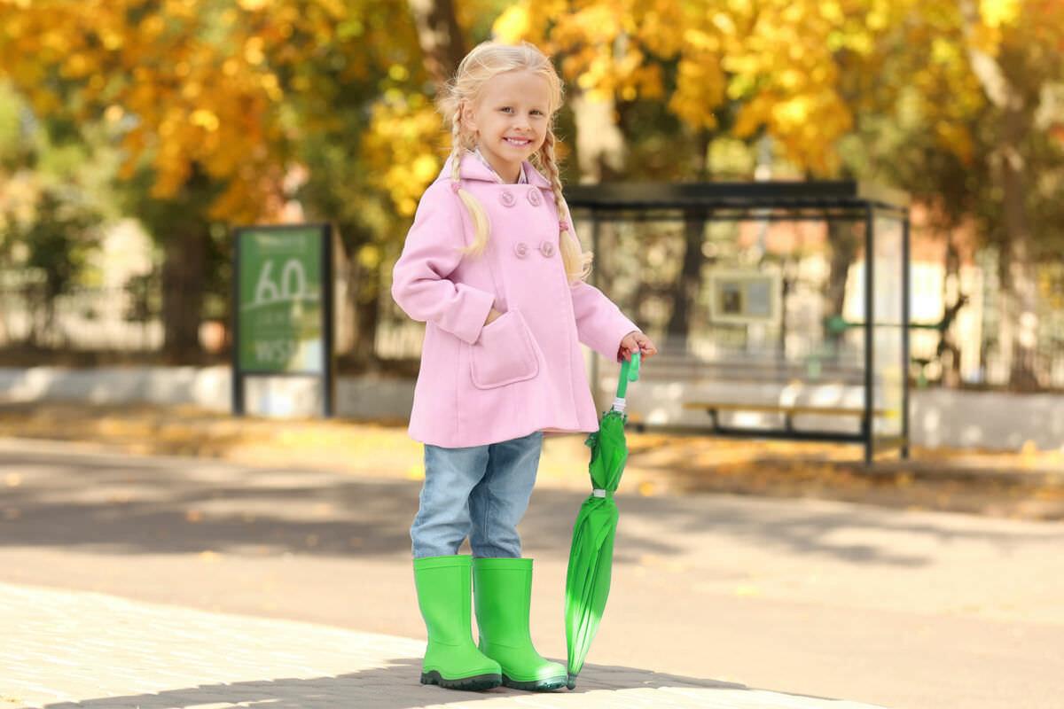 Kind mit grünem Regenschirm und Gummistiefeln vor herbstlichem Hintergrund