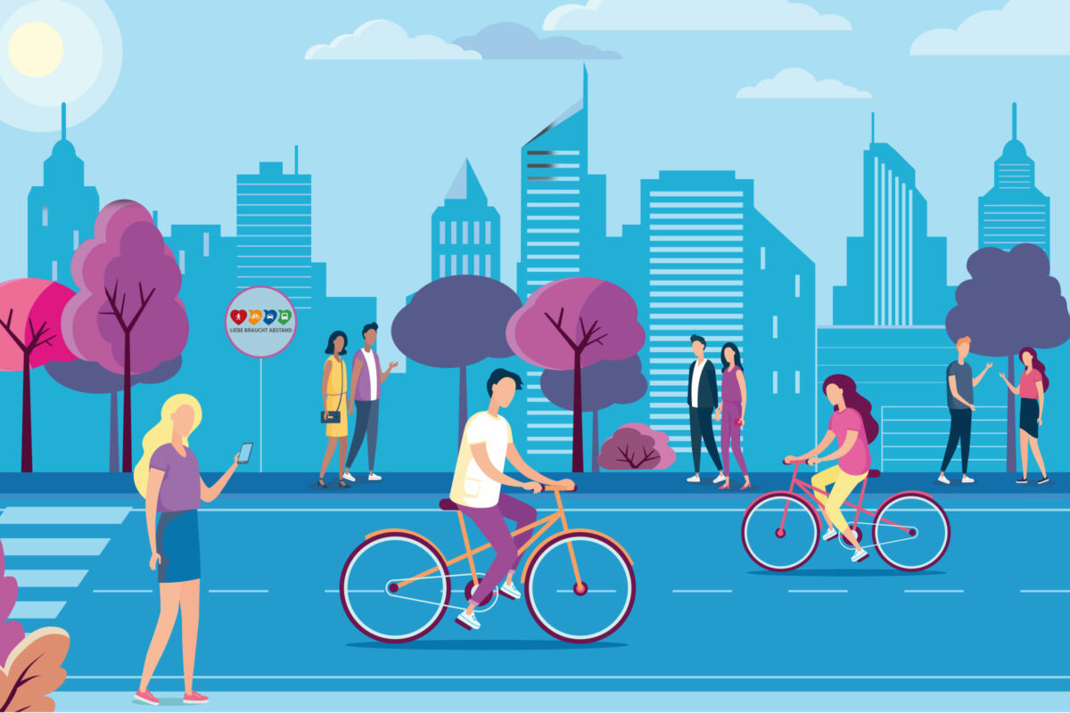 A drawing of a bicycle-friendly city