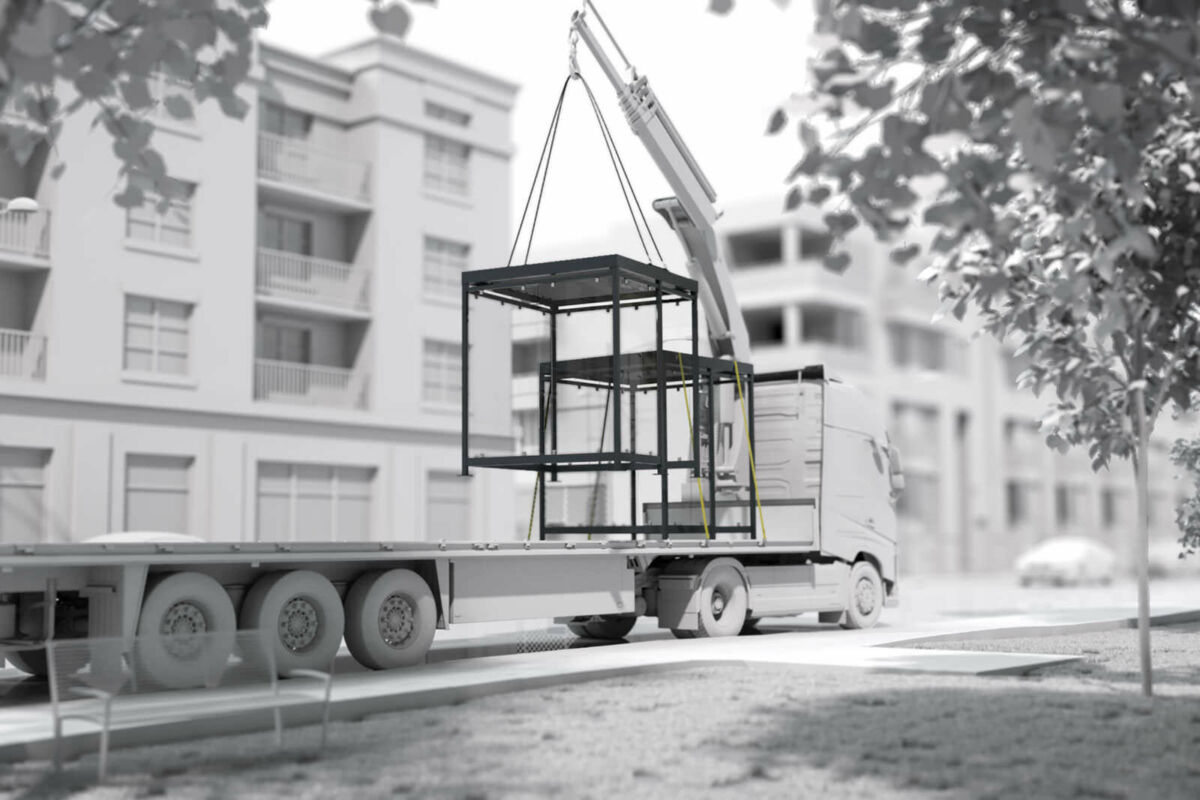 A visualization on which a shelter is unloaded from a crane