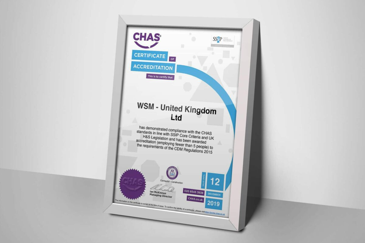 A picture of the CHAS certificate from WSM
