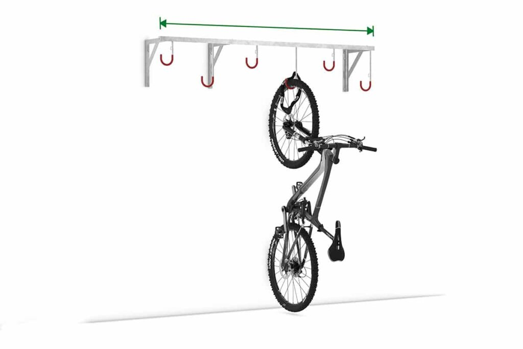 Hanging parker with suspended bicycle