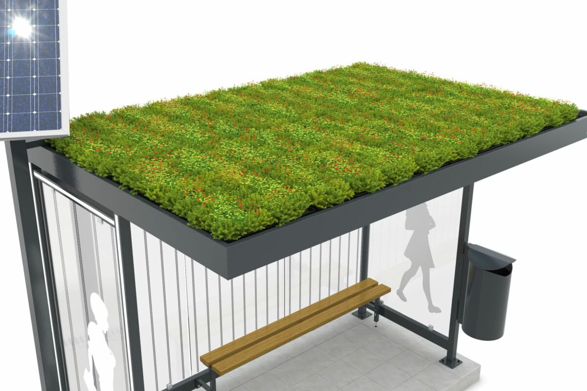 A top down view of a shelter with a green roof