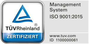 The TÜV seal ISO 9001:2015