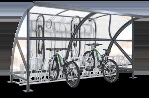 Fahrradüberdachungen mit Bogendach und Glaswänden