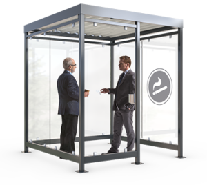 Smoker shelters with flat roof and glass walls